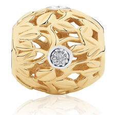 Diamond Set Leaf Pattern Charm in 10kt Yellow Gold