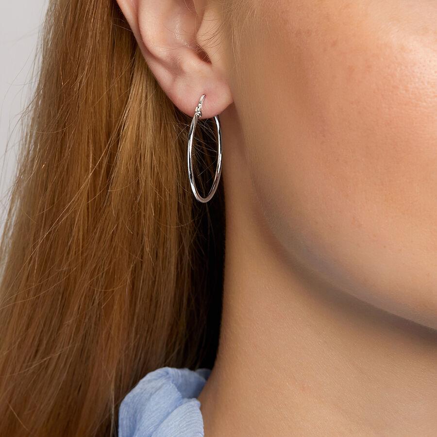 Round Hoop Earrings in Sterling Silver