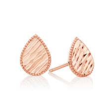 Patterned Pear Studs in 14kt Rose Gold