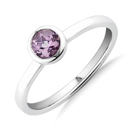 Bezel Ring with Created Sapphires in Sterling Silver