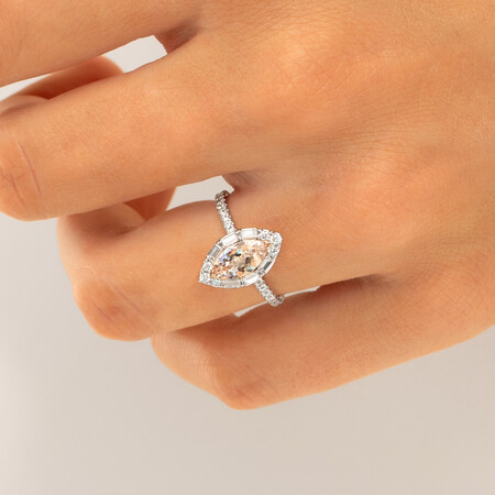 Sir Michael Hill Designer Marquise Engagement Ring with Morganite & 0.50 Carat TW of Diamonds in 18kt White Gold
