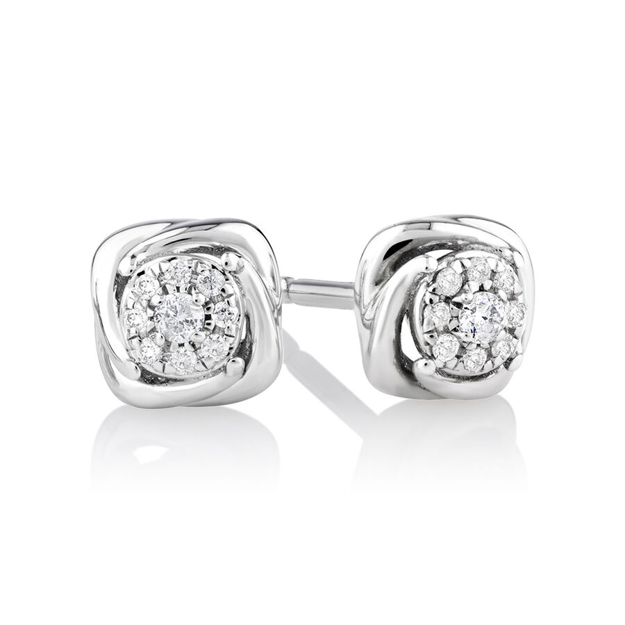 Halo Stud Earrings with Diamonds in Sterling Silver
