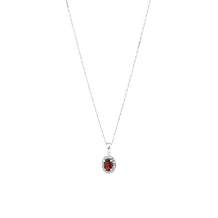 Halo Pendant with Garnet & Diamonds in Sterling Silver