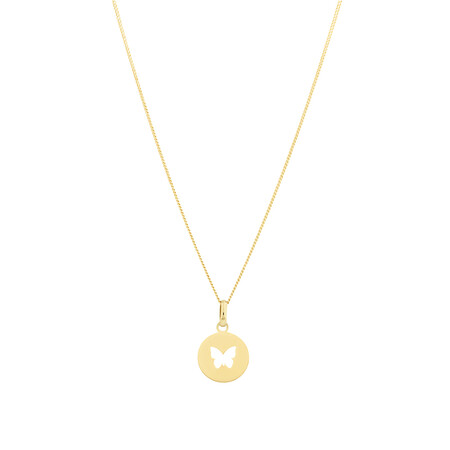 Circle Butterfly Pendant in 10kt Yellow Gold