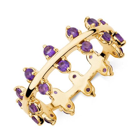 Double Zipper Ring With Natural Amethyst in 10kt Yellow Gold