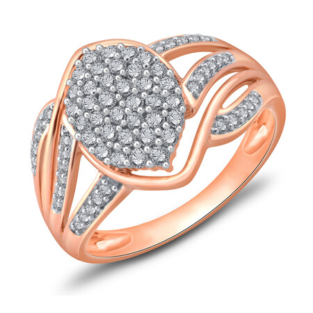 Cluster Ring with 0.50 Carat TW of Diamonds in 10kt Rose Gold
