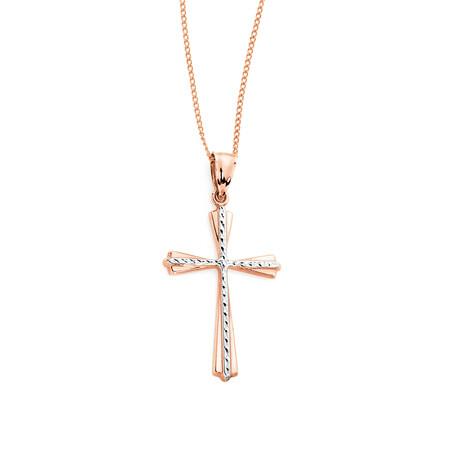 Cross Pendant in 10kt Rose & White Gold