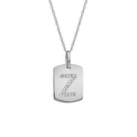 """Z"" Initial Rectangular Pendant With Diamonds In 10ct White Gold"