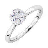 Solitaire Engagement Ring with 1 Carat TW of Diamonds in 10kt White Gold