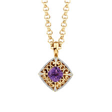 Enhancer with Amethyst & 0.15 Carat TW of Diamonds in 10kt Yellow Gold