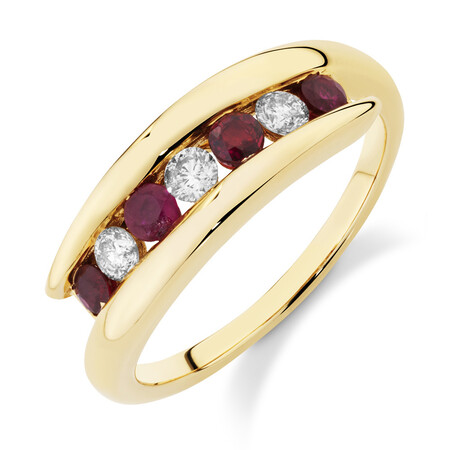 Ring with Natural Ruby & 0.22 Carat TW of Diamonds in 10kt Yellow Gold