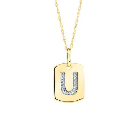 "U"" Initial Rectangular Pendant With Diamonds In 10kt Yellow Gold"