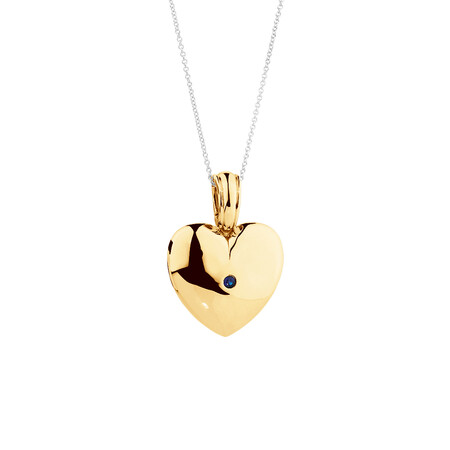 Heart Enhance Pendant with Natural Sapphire in 10kt Yellow Gold