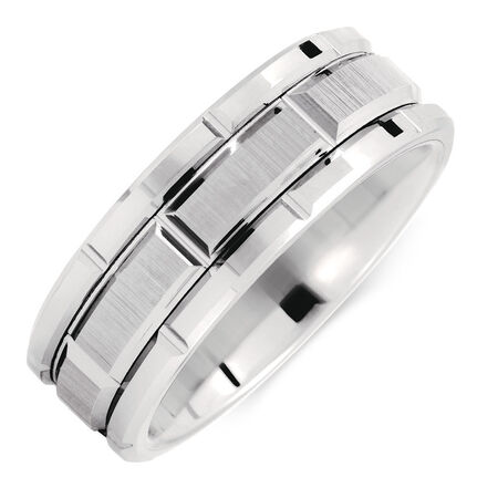 8mm Men's Patterned Ring in White Tungsten