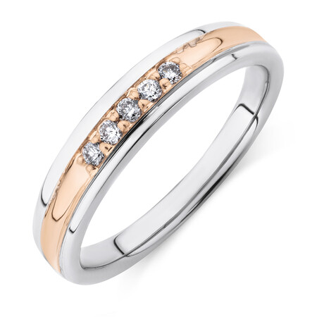 Ring with Diamonds in 10kt White & Rose Gold