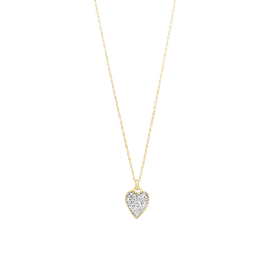 Heart Pave Pendant with 0.17 Carat TW of Diamonds in 10kt Yellow Gold