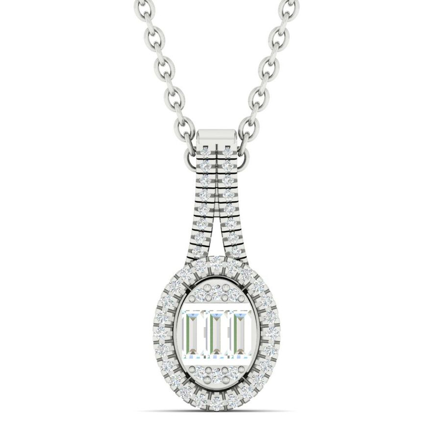 Oval Pendant with 0.25 Carat TW of Diamonds in 10kt White Gold