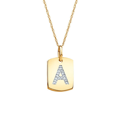 """A"""" Initial Rectangular Pendant With Diamonds In 10kt Yellow Gold"""