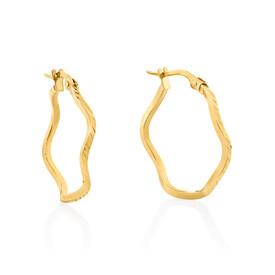Wave Hoop Earrings in 10kt Yellow Gold