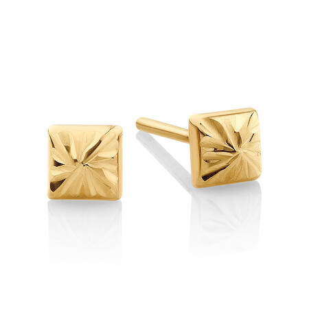 Pyramid Stud Earrings in 10kt Yellow Gold