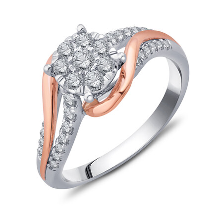 Cluster Ring with 1/2 Carat TW of Diamonds in 10kt Yellow & White Gold
