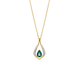 Created Emerald & Diamond Pendant in 10kt Yellow Gold