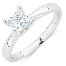 Evermore Colourless Solitaire Engagement Ring with a 1 Carat Diamond in 14kt White Gold