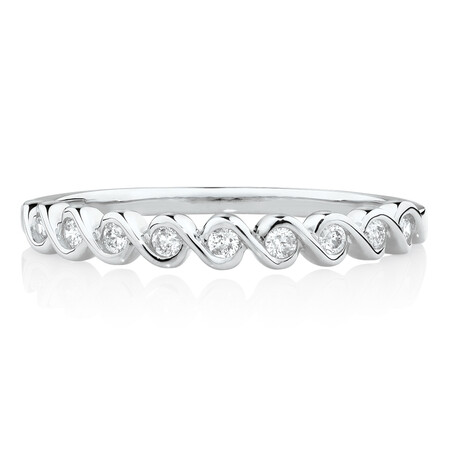 Fancy Stacker Ring with 0.12 Carat TW of Diamonds in 10kt White Gold