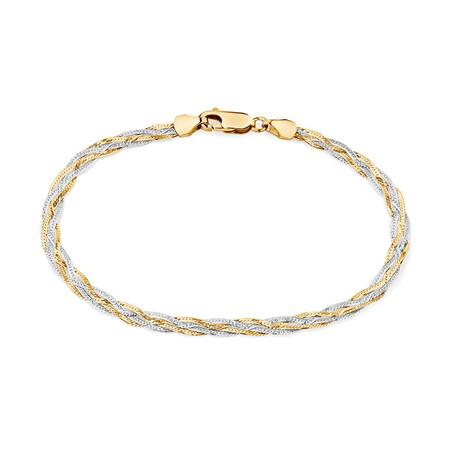 """17cm (6.5"""") Fancy Bracelet in 10kt Yellow & White Gold"""