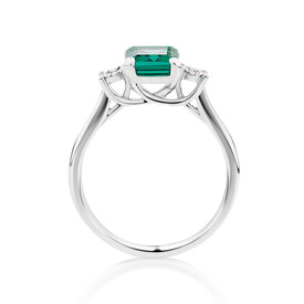Ring With Created Emerald & Diamonds In 10kt White Gold