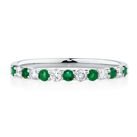 Stacker Ring with Natural Emerald & 1/7 Carat TW of Diamonds in 10kt White Gold