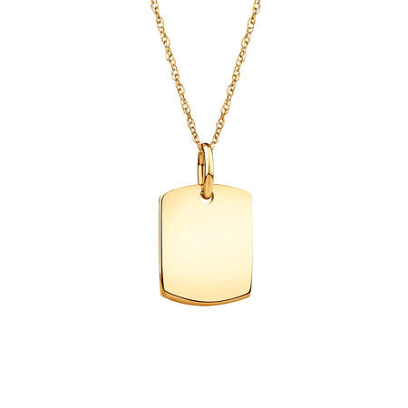 Plain Tag Pendant In 10kt Yellow Gold