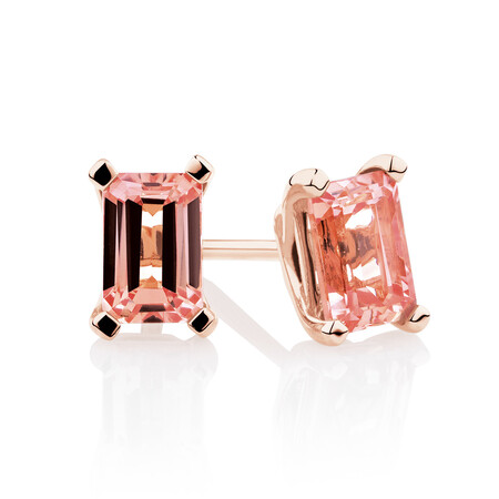 Stud Earrings with Created Peach Sapphire in 10kt Rose Gold