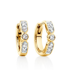 Hoop Earrings with Diamonds in 10kt Yellow Gold
