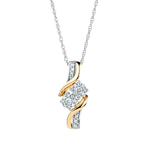 By My Side Pendant with 0.15 Carat TW of Diamonds in 10kt White & Yellow Gold