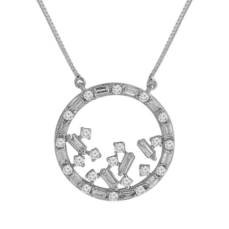 Circle Necklace with 0.50 Carat TW of Diamonds in 10kt White Gold