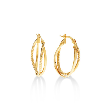 Plain Rope Crossover Earrings in 10kt Yellow Gold
