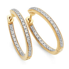Hoop Earrings with 0.15 Carat TW of Diamonds in 10kt Yellow Gold