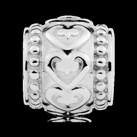 Sterling Silver Heart Pattern Charm