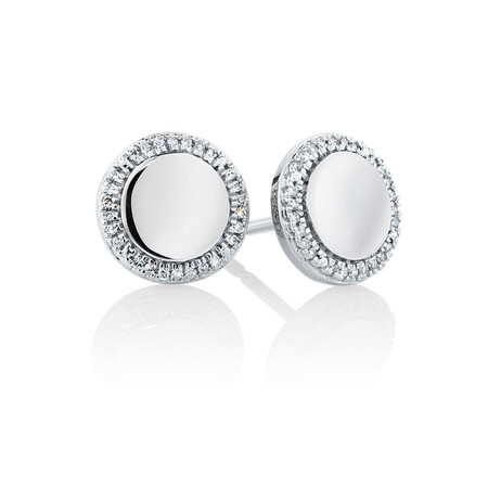 Circle Stud Earrings With Diamonds In Sterling Silver