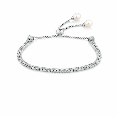 Adjustable Bracelet with Cubic Zirconia & Cultured Freshwater Pearl in Sterling Silver