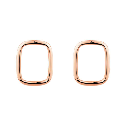 Open Rectangle Stud Earrings in 10kt Rose Gold