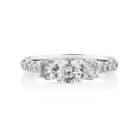 Prelude Three Stone Engagement Ring with 1.50 Carat TW of Diamonds in 14kt White Gold