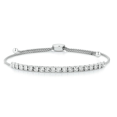 Adjustable Bracelet with 0.20 Carat TW of Diamonds in Sterling Silver