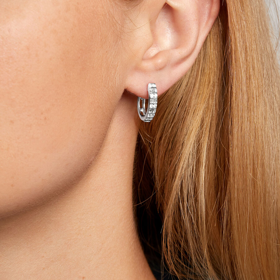 Huggie Earrings with 0.50 Carat TW of Diamonds in 10kt White Gold