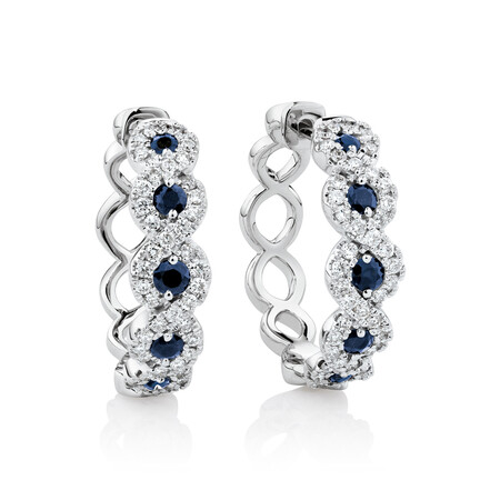 Earrings with Blue Sapphire & 0.55 Carat TW Diamonds in 14kt White Gold