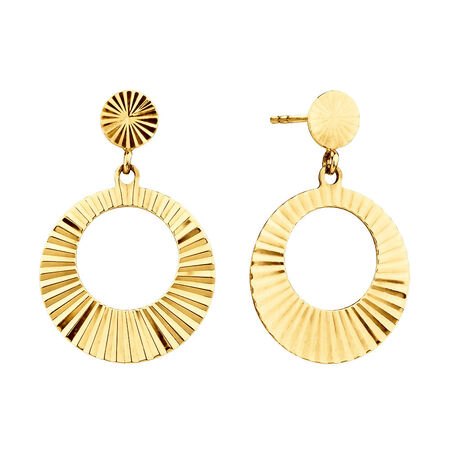 Circle Drop Earrings in 10kt Yellow Gold