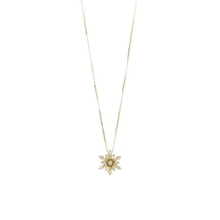 Flower Pendant with 0.16 Carat TW of Diamonds in 10kt Yellow Gold