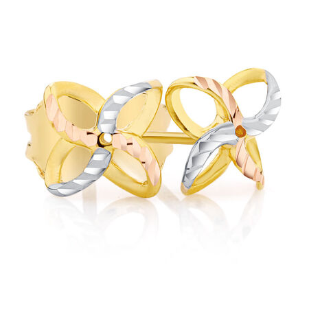 Petal Stud Earrings in 10kt Yellow, White & Rose Gold