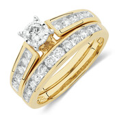 Bridal Set with 1 Carat TW of Diamonds in 14kt Yellow & White Gold
